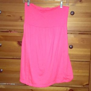 Bright pink strapless bathing suit coverup